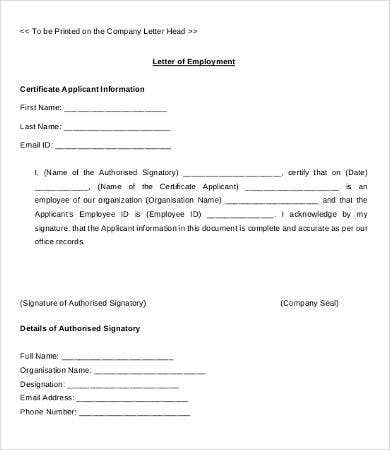 letter of employment format