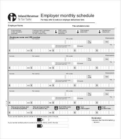 employee monthly schedule template