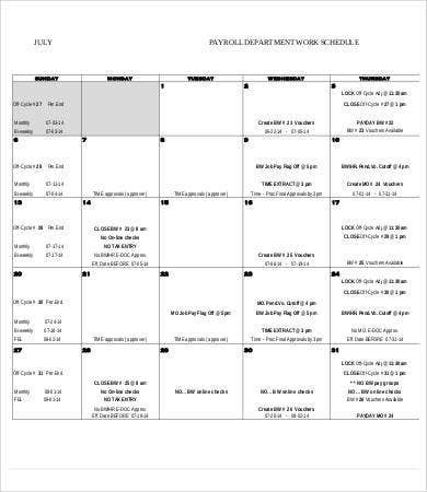 Monthly Schedule Templates  Free Sample Example Format