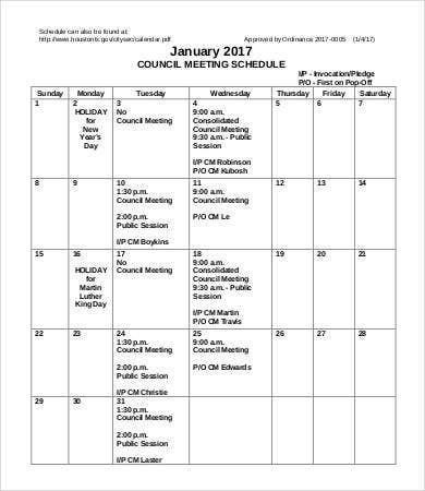 Week Council Meeting Schedule Template