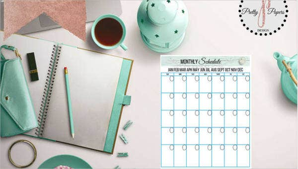 sample monthly schedule templates