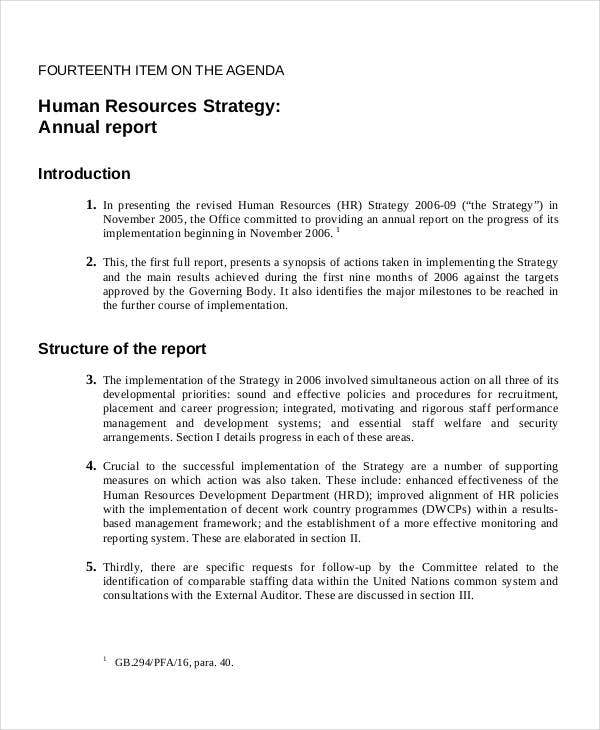hr strategy report template