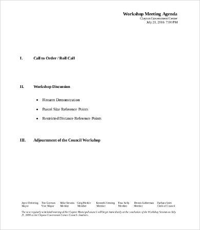 Workshop Meeting Agenda Template