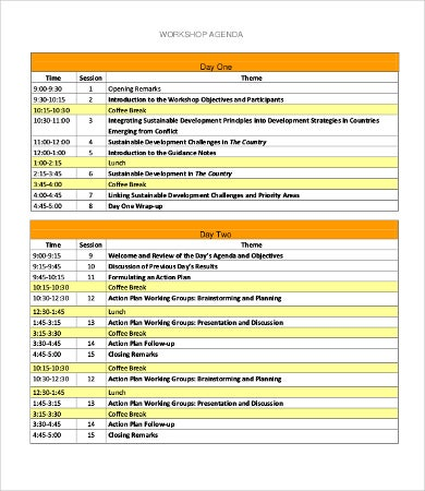 One Day Workshop Agenda Template