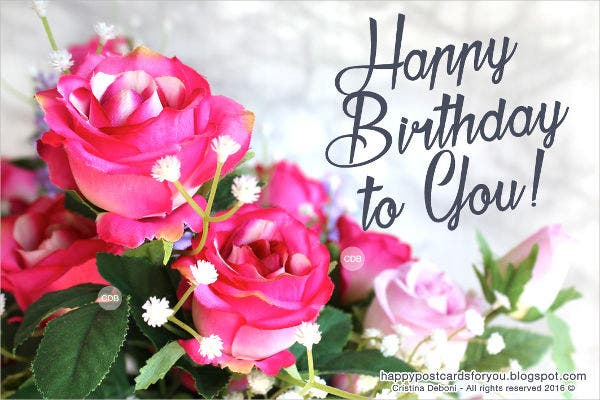 Birthday Card with Beautiful Pink Rose Free