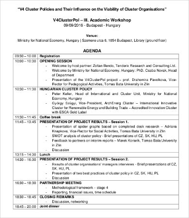 Academic Workshop Agenda Template