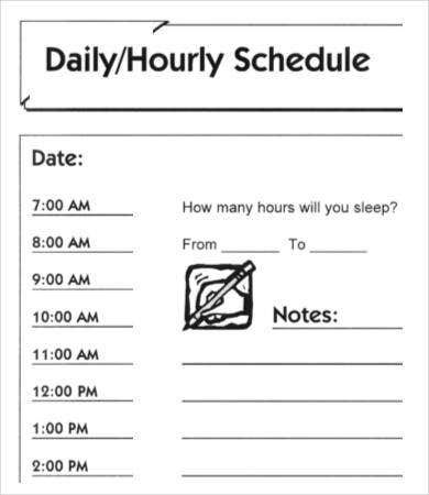 Daily Hourly Schedule Form Template
