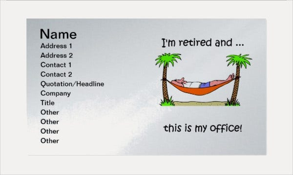Funny retirement Business Card