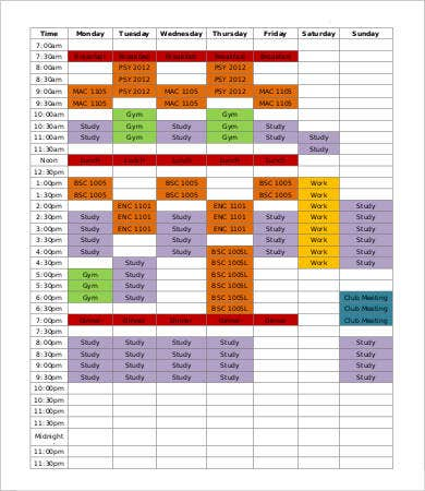 Hourly Study Schedule Template