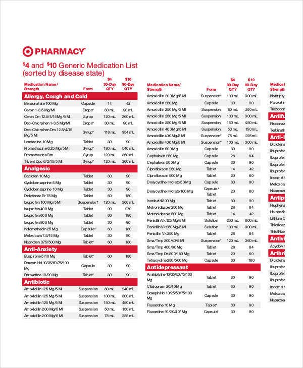 printable generic medication list
