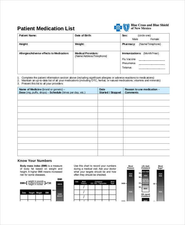 printable patient medication list
