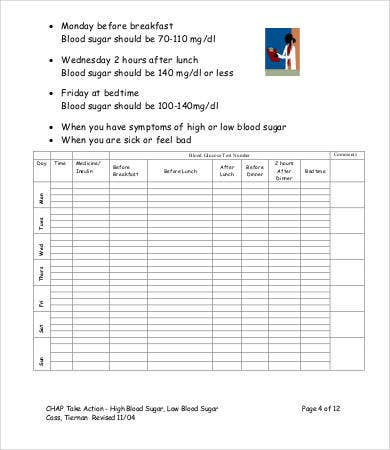 Blood Glucose Level Chart   Free Word Pdf Documents Download
