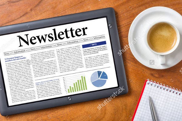Printable Newsletter Template on a Desk