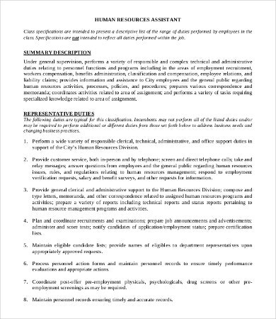 Human Resource Assistant Manager Job Description