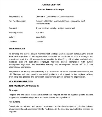Human Resource Manager Job Description - 10+ Free Word, Pdf Format