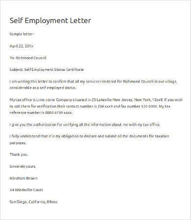 verification of self employment letter - Employment Proof Letter