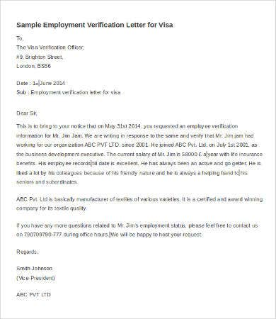 employment verification letter for visa - Verification Of Employment Sample Letter