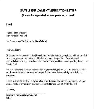 letter of employment verification for immigration - Verification Of Employment Sample Letter