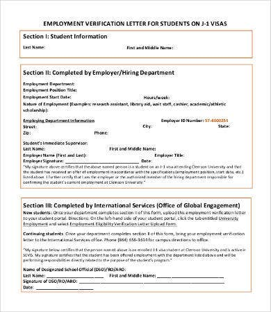 Employment Verification Letter for Students