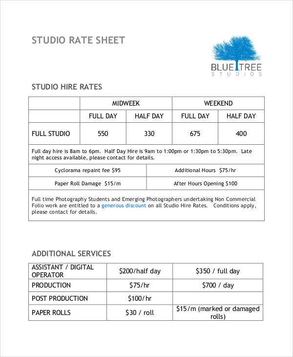 Rate Sheet Template   Free Sample Example Format  Free