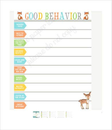 free toddler behavior chart