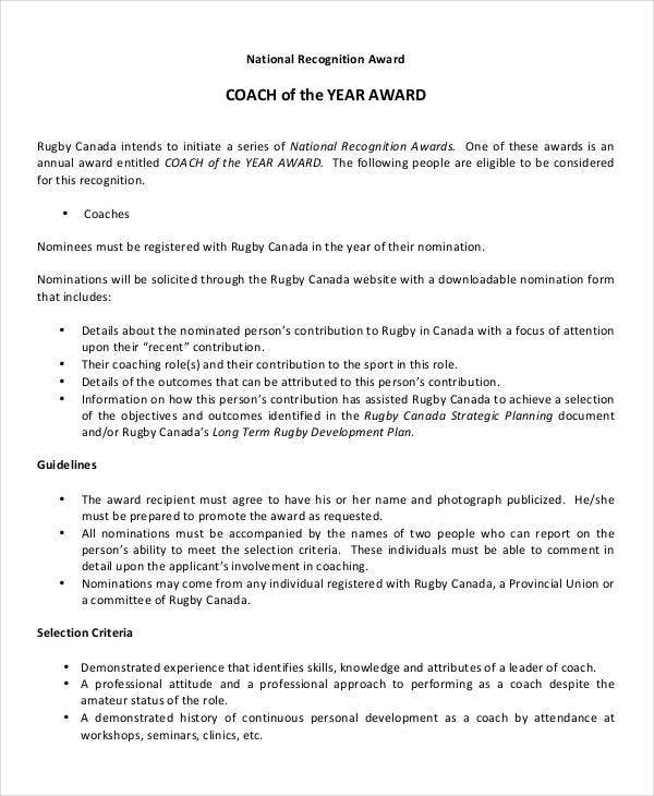 coach of the year award template
