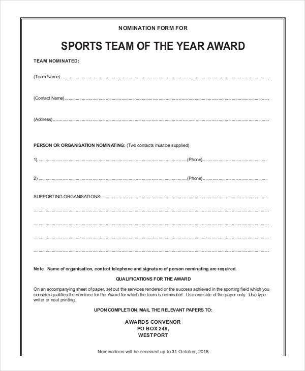 sports team of the year award template
