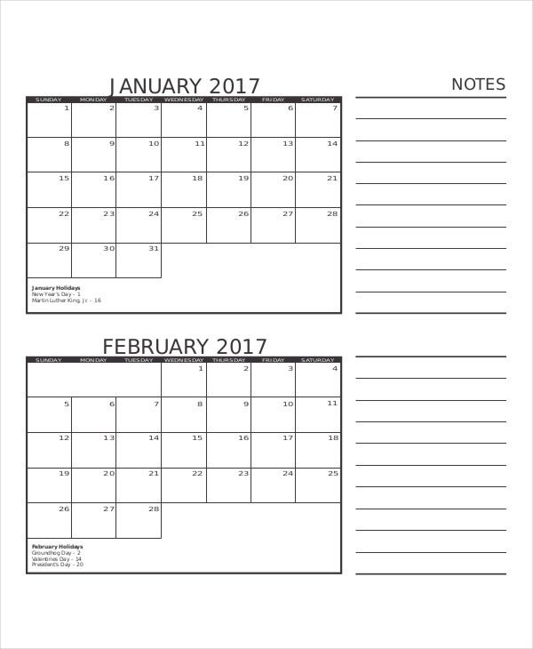 blank printable monthly calendar template