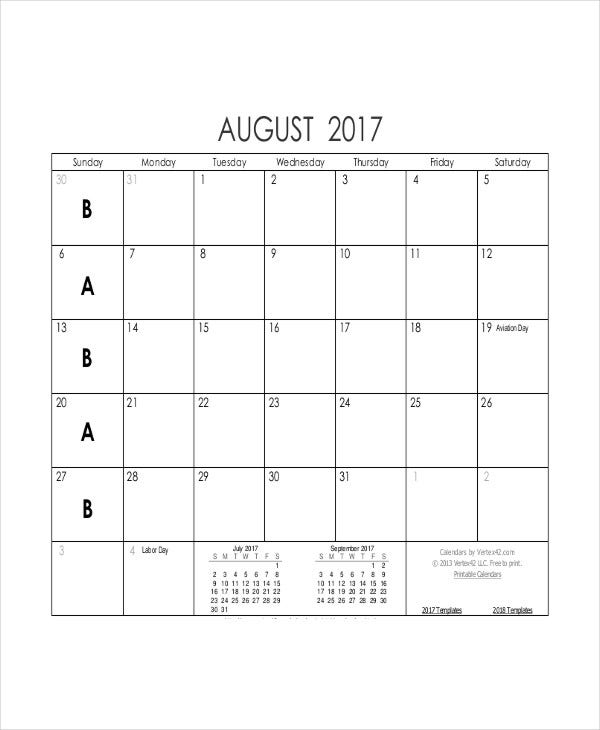 free printable blank calendar template in pdf