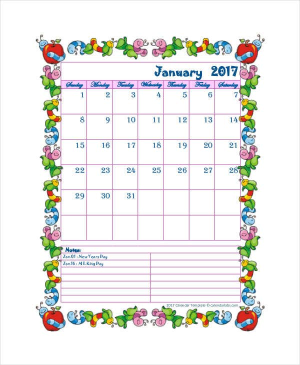printable blank calendar for kids