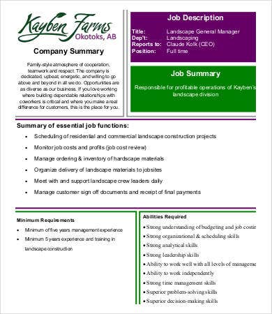 landscaping general manager job description
