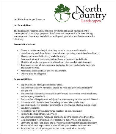 10 sample landscaping job description templates pdf