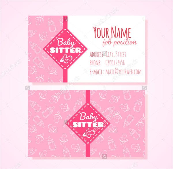 Printable business cards 9 free psd vector ai eps format printable babysitting business card fbccfo Gallery