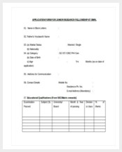 application form for junior research felloship word document free download