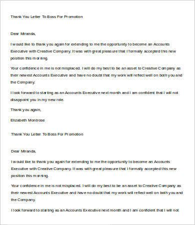 Thank You Letter To Boss   Free Word Pdf Documents Download