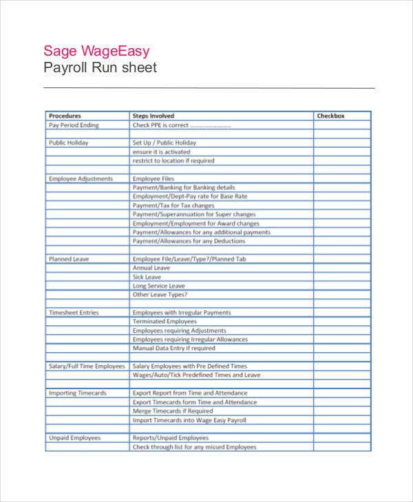 payroll run sheet template