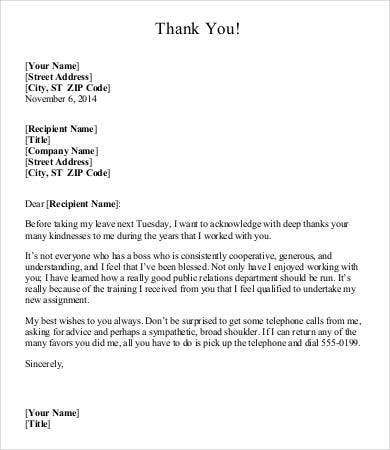 Thank You Letter To Boss   Free Word  Documents Download