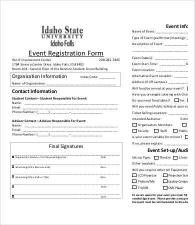 10 printable registration form templates pdf doc for Event booking form template word