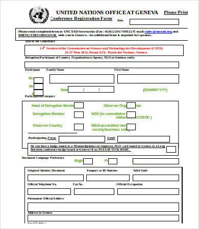 10+ Printable Registration Form Templates - Free Sample, Exmaple