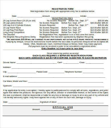 Printable Race Registration Form Template