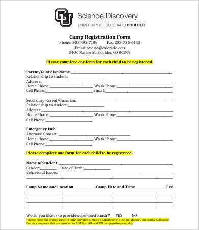 printable camp registration form template