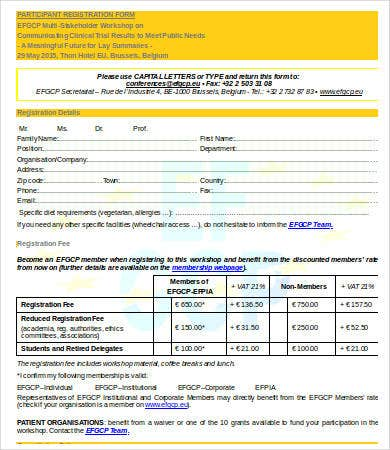 printable participant registration form