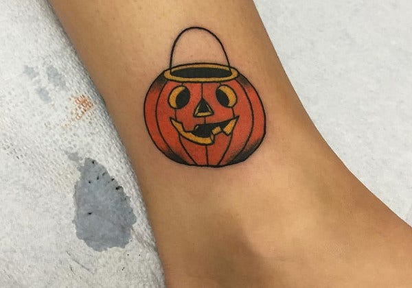 Minimalist Pumpkin Tattoo