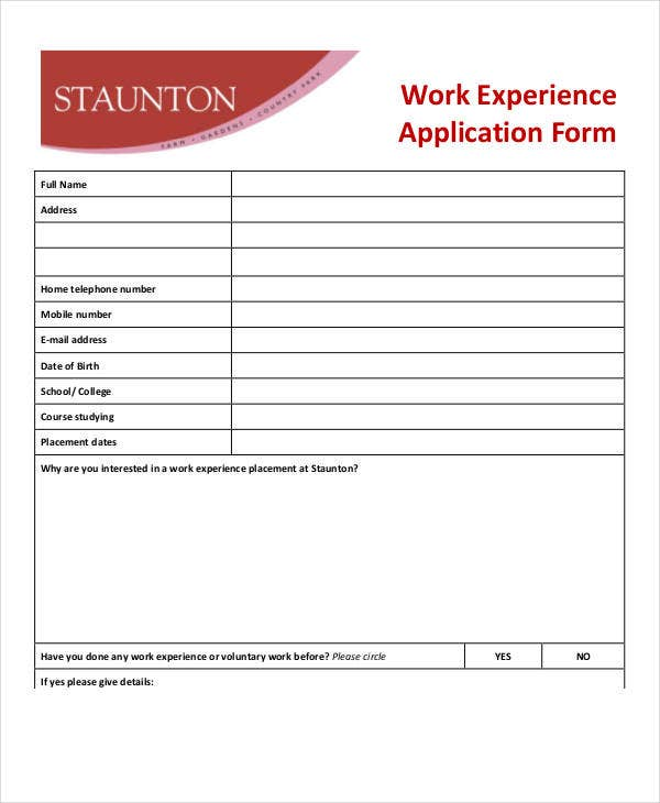 work experience application form template