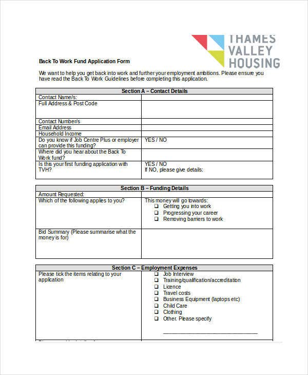 7+ Work Application Templates - Free Sample, Example, Format