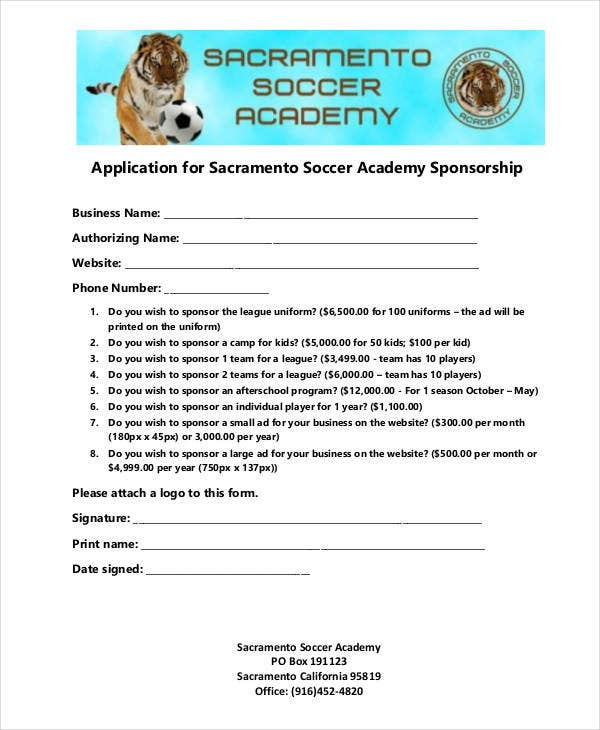 Academy Sponsorship Application Template  Example Sponsor Form