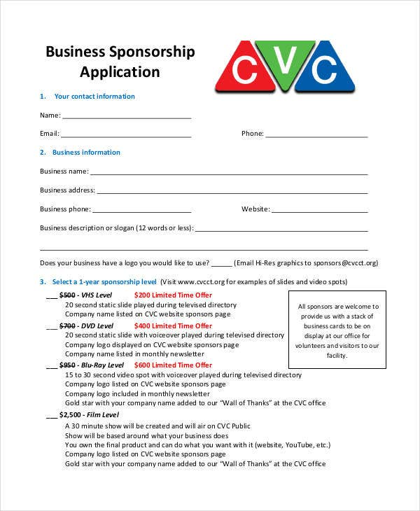 business sponsorship application