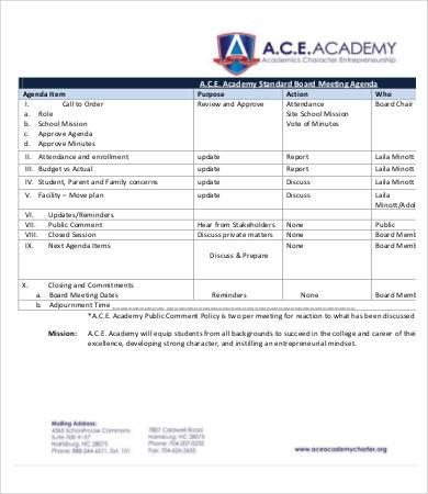 standard board meeting agenda template
