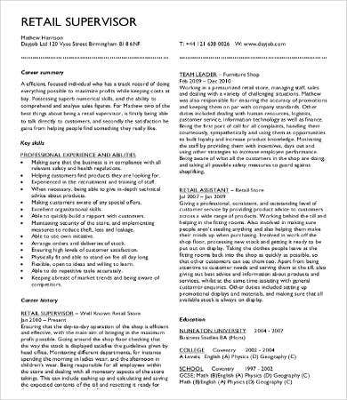 Sample Retail Resume  Sample Resume And Free Resume Templates