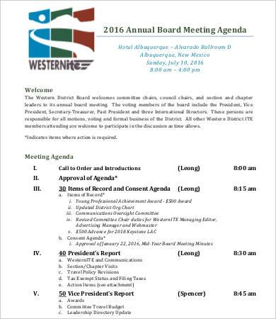 annual board meeting agenda template